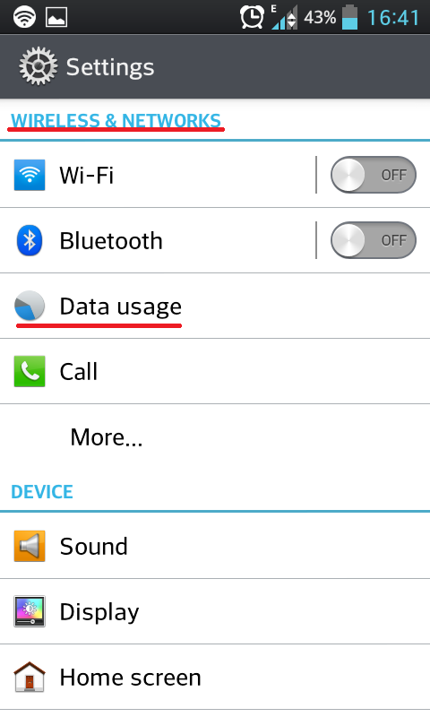 Settings of your device