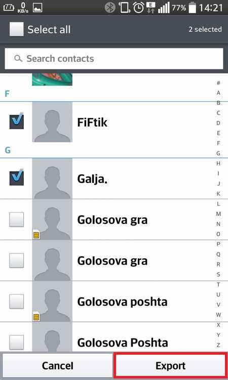 Selecting all Contacts