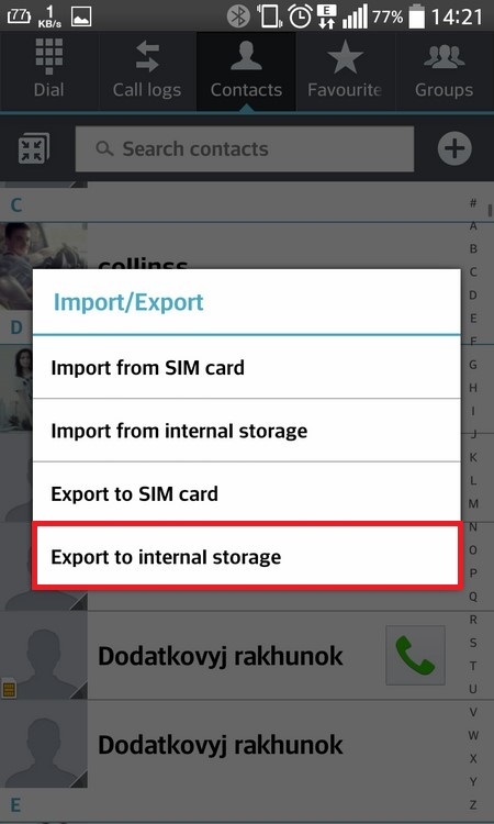 "Select ""Export to internal storage"""