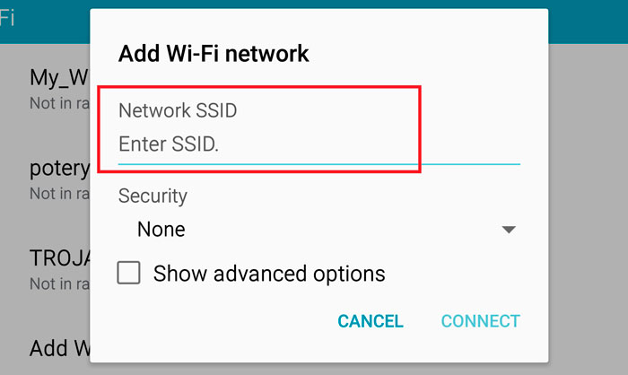SSID of the network