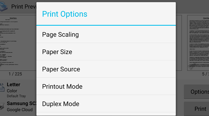 Choose the device for printing
