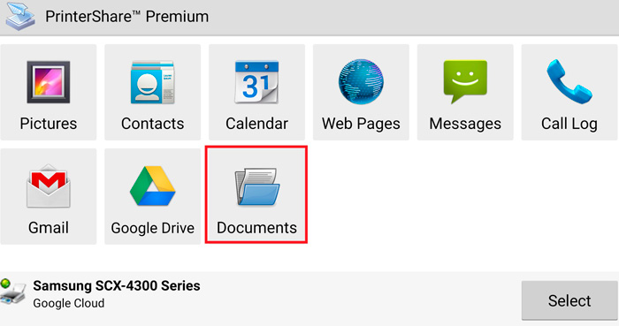 Print a document from Android