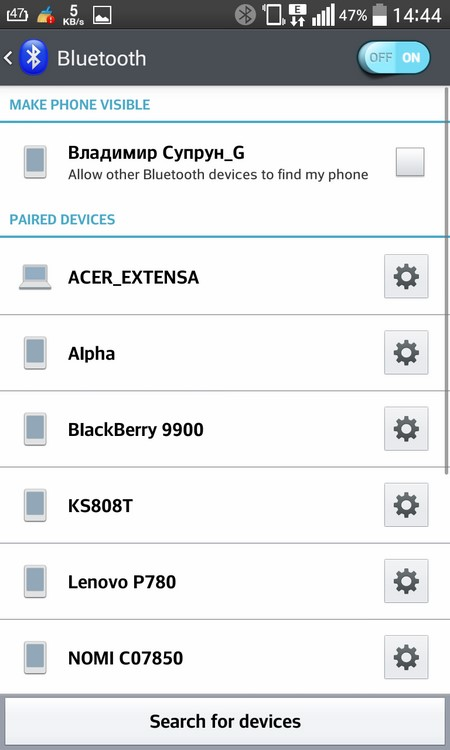 List of all found devices