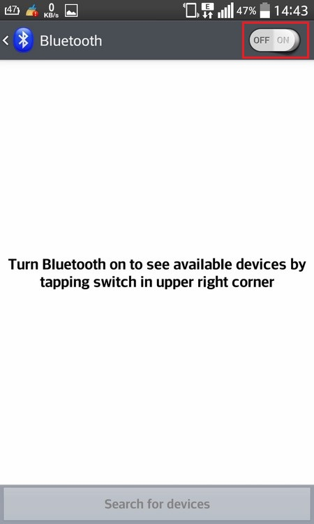 Turn the Bluetooth on