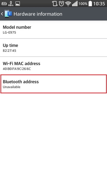 Bluetooth address is not available on the Android