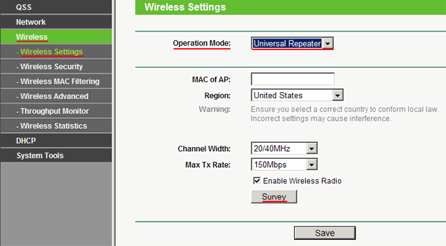 Wireless mode settings