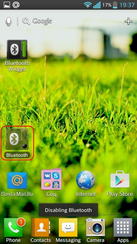 Bluetooth widget Off