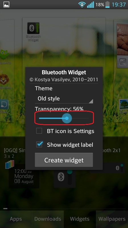 Bluetooth Widget Visible